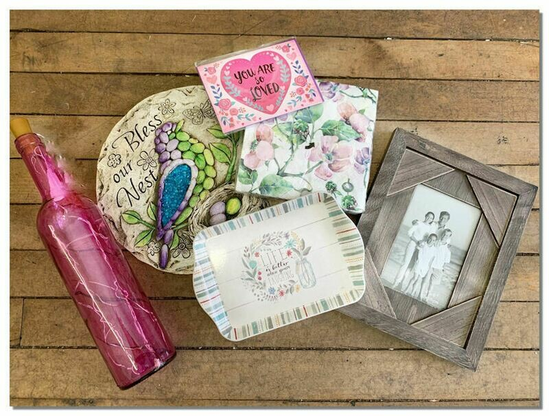 Light Up Bottle, Garden Stone, Plate, Napkins, Picture Frame, Card