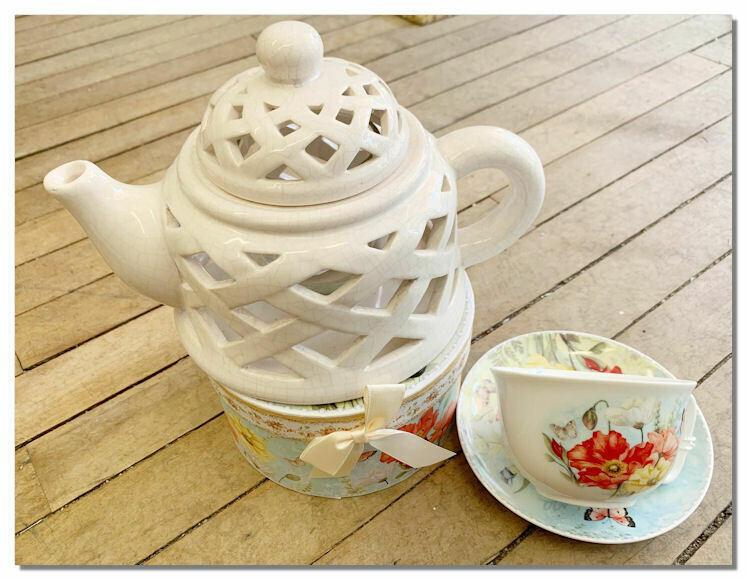 Tea Light Tea Pot (decorative) & Tea Cup Set.