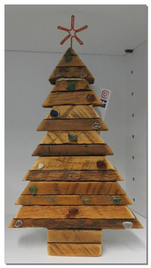 Wooden Christmas tree w beach glass