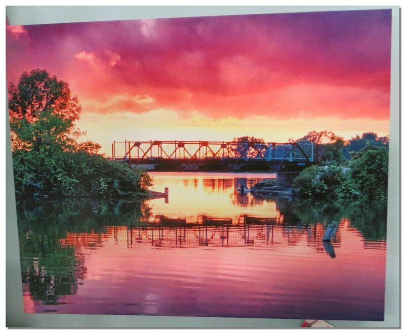 Black Bridge Sunset Pic on canvas.