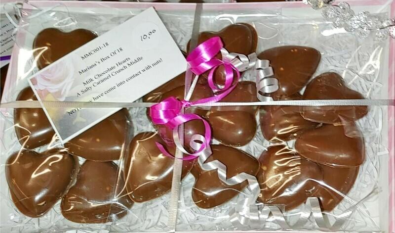 Mariana's Gift Box of 18 Chocolate Hearts