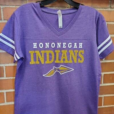 Hononegah Women's Football V-Neck Fine Jersey Tee, Glitter Logo
