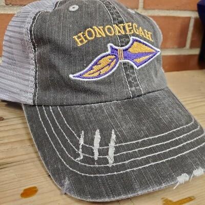 Hononegah Herringbone Trucker Cap, Black/Grey, Embroidered