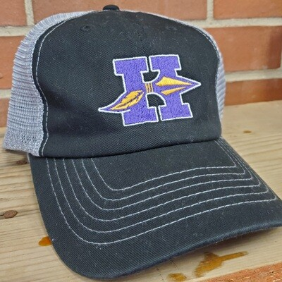 Hononegah Contrast-Stitch Mesh-Back Cap, Black/Grey, Embroidered