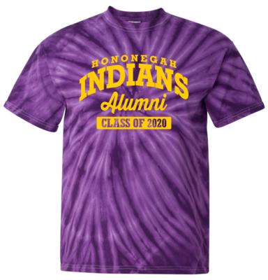 Hononegah Alumni T-shirt with Class Year, Purple Tie Dye