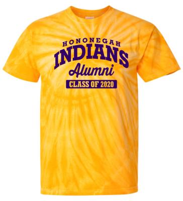 Hononegah Alumni T-shirt with Class Year, Gold Tie Dye