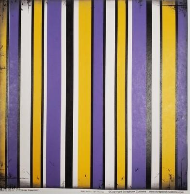 Hononegah Scrapbook Paper, Grungy Stripes, Purple & Gold