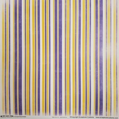 Hononegah Scrapbook Paper, Overcast Stripe, Purple & Gold