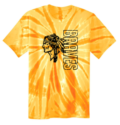 Braves Tie Dyed T-shirt, Gold
