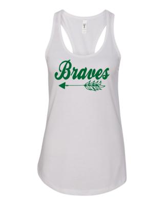 Braves Women's Racerback Tank, 3 colors available, GLITTER LOGO