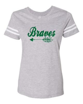 Braves Women's Football V-Neck Tee, 3 colors available, GLITTER LOGO
