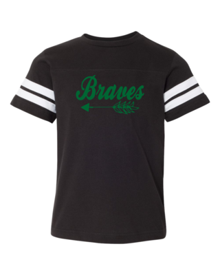 Braves Youth Football V-Neck Tee, 3 colors available, GLITTER LOGO
