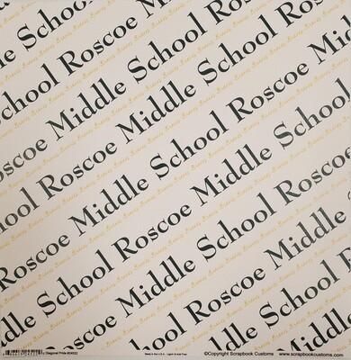 Roscoe Middle School Scrapbook Paper, Diagonal Pride, Dark Green & Gold
