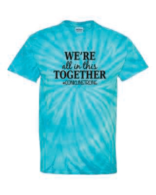 Conklin Elementary WE'RE ALL IN THIS TOGETHER Tie Dyed T-shirt, Turquoise