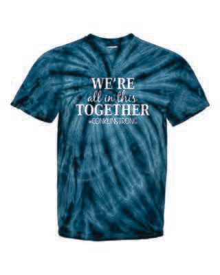 Conklin Elementary WE'RE ALL IN THIS TOGETHER Tie Dyed T-shirt, Navy Blue