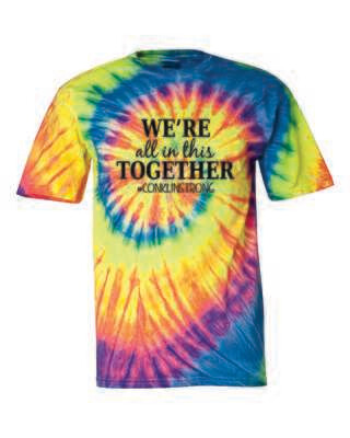 Conklin Elementary WE'RE ALL IN THIS TOGETHER Tie Dyed T-shirt, Pastel Ripple