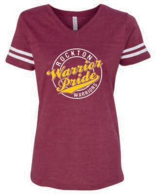 Rockton Warrior Pride Women's Football V-Neck T-shirt, 3 Colors Available