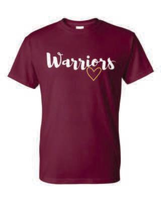 Warriors, Rockton Schools, T-shirt, GLITTER DESIGN, 3 Colors Available