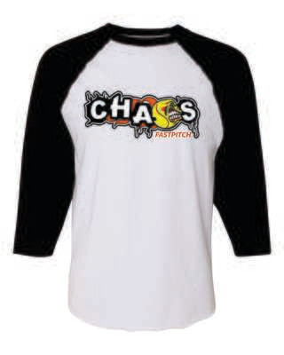 CHAOS FASTPITCH 3/4 SLEEVE BASEBALL JERSEY TEE, White/Black Sleeves