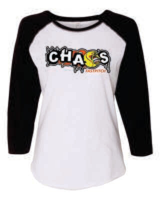 CHAOS FASTPITCH WOMEN'S 3/4 SLEEVE BASEBALL JERSEY TEE, White/Black Sleeves