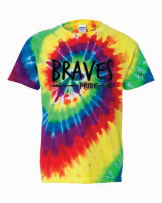 BRAVES PRIDE Tie Dyed T-shirt, Rainbow