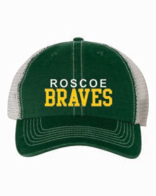 ROSCOE BRAVES Mesh Back Adjustable Cap, Embroidered, 3 Colors Available