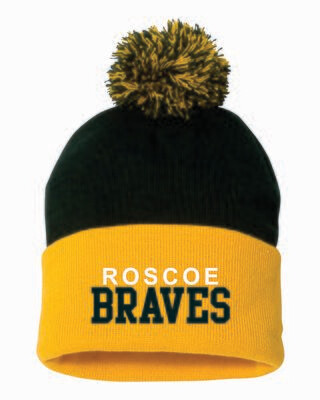 """ROSCOE BRAVES 12"""" Pom-Pom Knit Beanie, Embroidered, 4 Colors Available"""