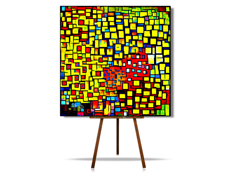 Geometric Art Abstract, Colorful Geometric Art Wall, Geometric Cubism Abstract