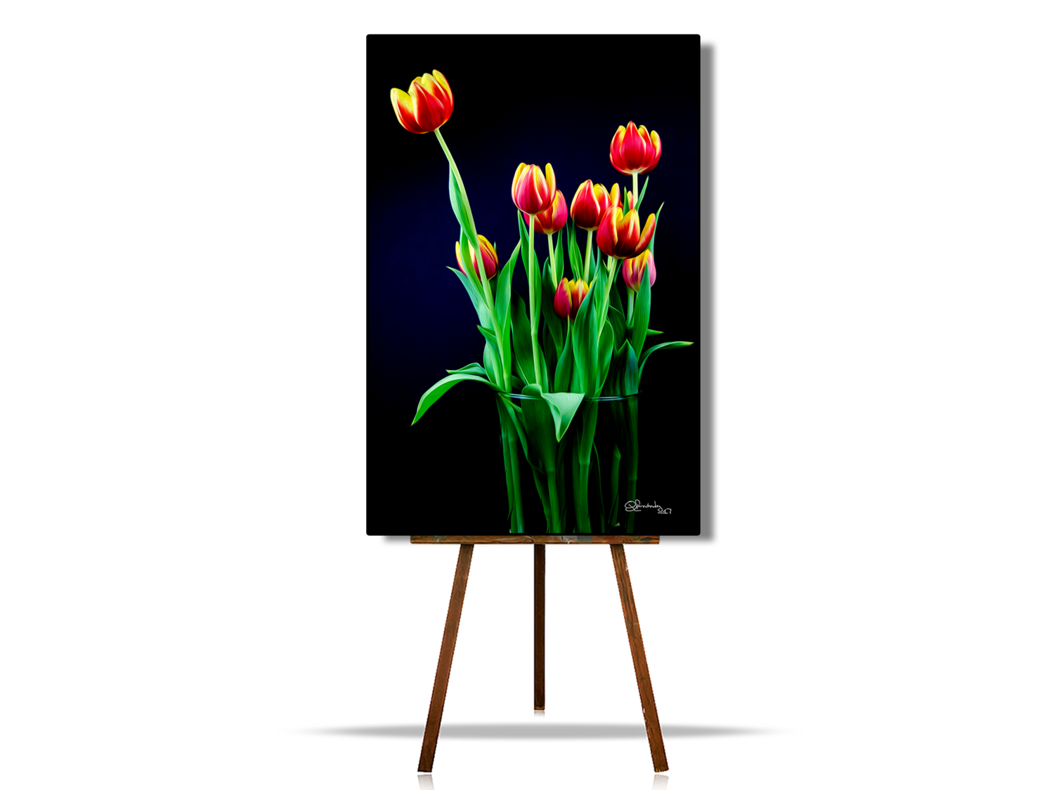 Tulips Flowers, Flower Digital Art, Vivid Artwork, Modern Interior Art