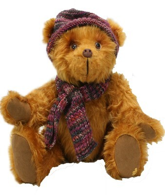 Albert the Faux Fur Billy Bear in Hat and Scarf