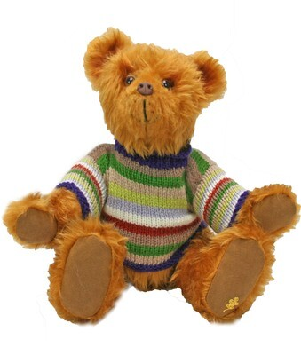 George the Faux Fur Billy Bear in Stripey Jumper