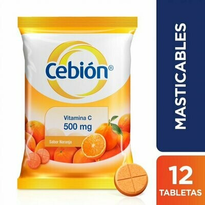 CEBIÓN VITAMINA C 500 MG SABOR A NARANJA X 12 TABLETAS MASTICABLES
