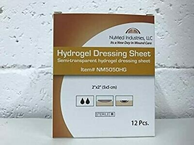 NuMed Hydrogel Dressing Sheet 2x2, 12BX, 20BX/CS