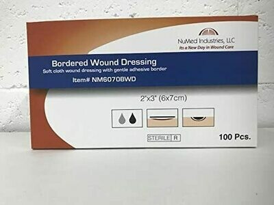 NuMed Bordered Wound Dressing 2x3 100BX, 12BX/CS