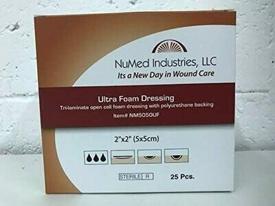 NuMed Ultra Foam Dressing 2x2, 25BX, 24BX/CS