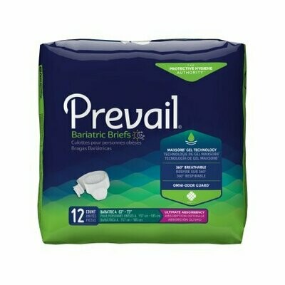 Prevail Bariatric Briefs with Tabs Diaper ADLT XXLG Case of 48 Heavy Absorbency