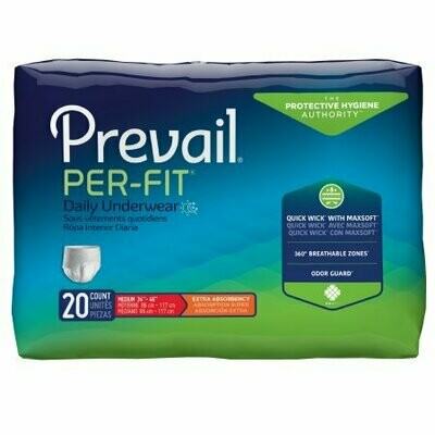 Unisex Adult Absorbent Underwear Prevail® Per-Fit® Pull On with Tear Away Seams Medium Disposable Heavy Absorbency BG/20