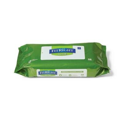 FitRight Personal Cleansing Wipes FitRight Aloe Scented Wet Wipes 816 Each / 12 Pack / 1 Carton / Case