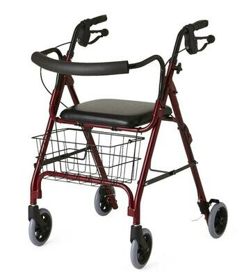 Deluxe Rollator, Burgundy, Curved Back, 250 lb.