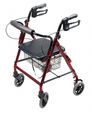 4 Wheel Rollator Lumex® Walkabout Burgundy Adjustable Height Aluminum Frame WALKER
