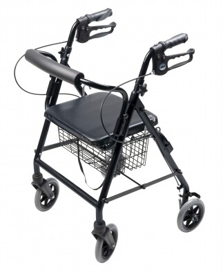 4 Wheel Rollator Lumex® Walkabout Black Adjustable Height Aluminum Frame