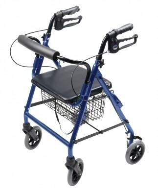 4 Wheel Rollator Lumex® Walkabout Royal Blue Adjustable Height Aluminum Frame