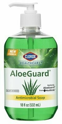 Antimicrobial Soap Clorox® Healthcare AloeGuard® Liquid 18 oz. Pump Bottle Floral Scent SOAP, ALOEGUARD ANTIMICROBIAL PUMP 18OZ BICINF