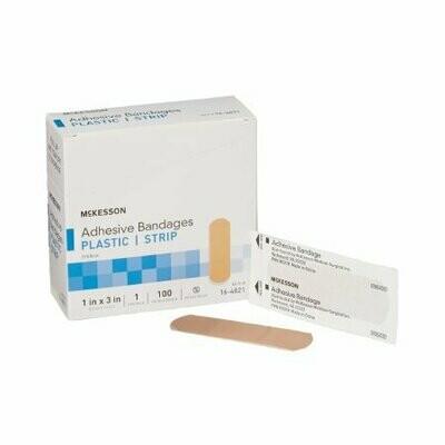 Adhesive Strip McKesson 1 X 3 Inch Plastic Rectangle Tan Sterile BANDAGE, ADHSV SHR STRP 1X3 (100/BX 24BX/CS)