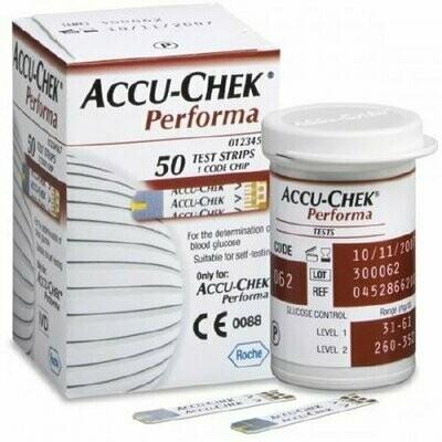 Blood Glucose Test Strips Accu-Chek® Performa 50 Strips per Box Tiny 0.6 microliter drop For Accu-Chek® Performa Blood Glucose Meter TEST STRIP, BLD GLUC ACCU-CK PERFORMA (50/BX 36BX/