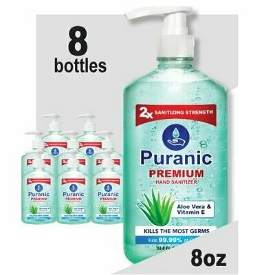 Puranic Aloe Vera and Vitamin E Hand Sanitizer Family Value 8 Pack