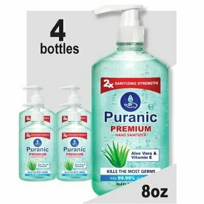 Puranic Aloe Vera and Vitamin E Hand Sanitizer Family Value 4 Pack