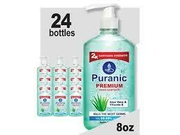 Puranic Aloe Vera and Vitamin E Hand Sanitizer Family Value 24 Pack