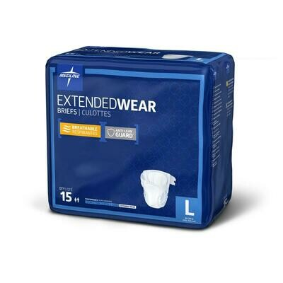 Extended Wear High-Capacity Adult Incontinence Briefs 4 bag Case L