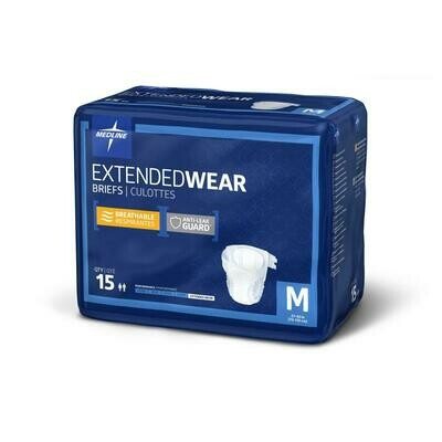 Extended Wear High-Capacity Adult Incontinence Briefs 4 bag Case M